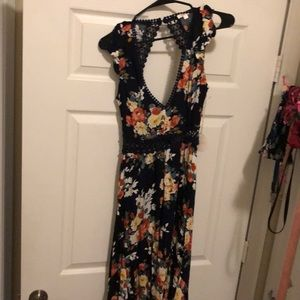 Floral laced open back dress